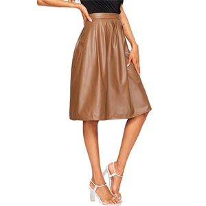 Casual Mid Waist Pleated Faux Leather Skirt